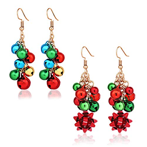 XOCARTIGE 2PCS Christmas Bell Earrings Festive Xmas Gifts Santa Clause Drop Dangle Earrings Women Girls (B Big Bell+Bow) ()