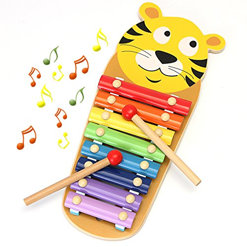 funtok-wooden-8-notes-hand-knock-musical-animal-xylophone-8-keys-wooden-instrument-percussion-with-2