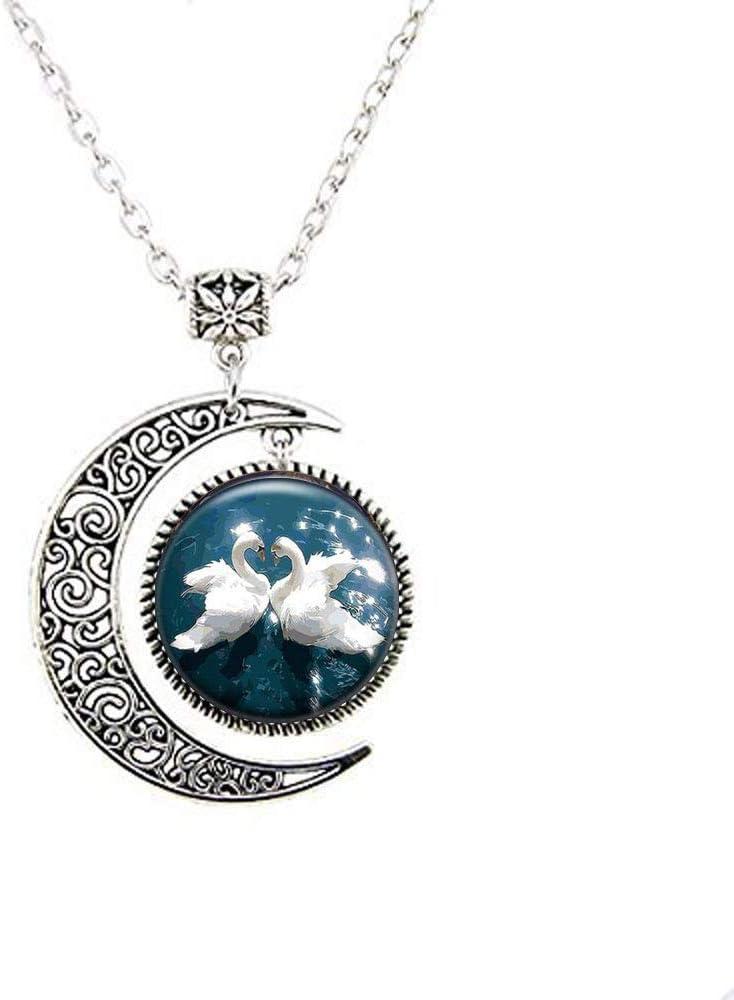 Collar con dos piedras de color blanco con diseño de luna de ganso, joyería blanca para niños