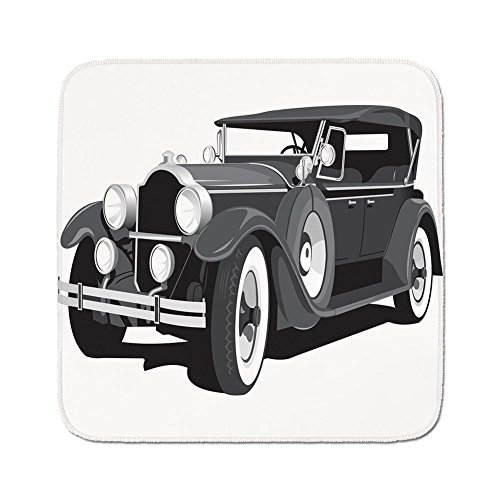 Cozy Seat Protector Pads Cushion Area Rug,Cars,Old Timer American Black Car Classical Urban Travel Nostalgic Revival Engine,Black Grey White,Easy to Use on Any (Grey Revival Toilet Seat)