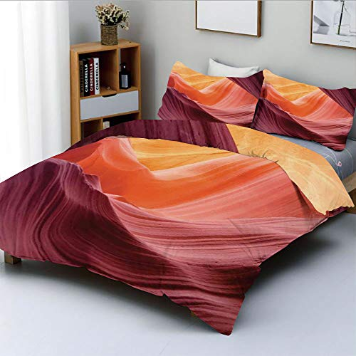 Duplex Print Duvet Cover Set Queen Size,Lower Antelope Canyon Deep Ravine between Cliffs Carved Erosive Art PrintDecorative 3 Piece Bedding Set with 2 Pillow Sham,Purple Tan,Best Gift For Kids & Adult