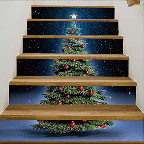 tonywu Escaleras Pegatinas Árbol de Navidad Escalera calcomanías Adornos de Vinilo a Prueba de Agua autoadhesiva Escalera Pegatinas para Pasillo Sala de Estar: Amazon.es: Hogar