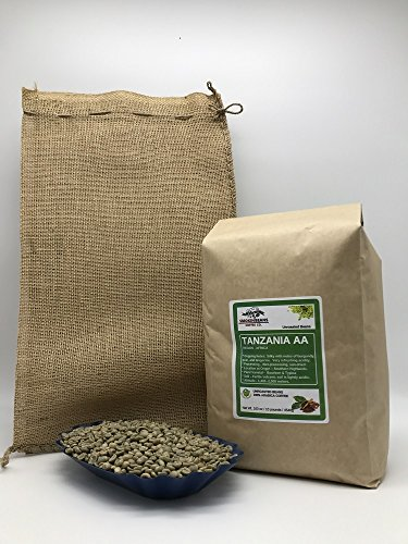 10 LBS – TANZANIA AA (includes a FREE BURLAP BAG) Specialty-Grade, CURRENT-CROP Green Unroasted Coffee Beans – Grown at High Altitudes of 1,400-2,000 Meters – Plant Varietals Bourbon & Typica