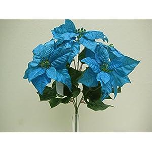 "Blue Turquoise Christmas Poinsettia Glitter Bush Artificial Silk Flower 18"" Bouquet 5-139 TQ 71"