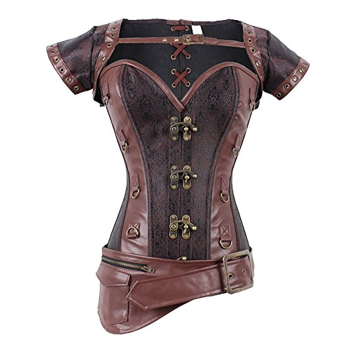 Women's Jacket Steampunk Girl Gothic Costume Tops Bustier Size L, Brown (Cosplay Steampunk Costumes)