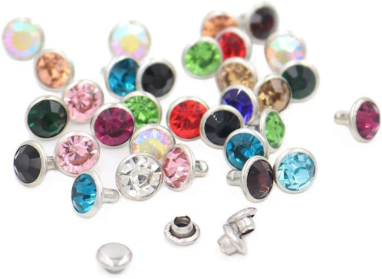 100 sets Mix Color 6 mm / 8 mm Cristales Remaches de diamantes de imitación Pernos prisioneros de diamante para remaches de bricolaje para cuero, 8 mm