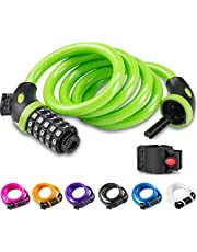 Opaza Bike Lock with 5-Digit Code, 1.2M/4ft Bicycle Lock Combination Cable Lock Lightweight & Security Bike Chain Lock for Bicycle, Mountain Bike, Scooter