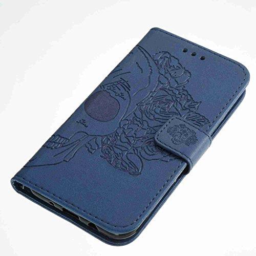 Funda Samsung Galaxy J3 2017 / J320, 5.0 pulgadas, Cáscara Samsung Galaxy J3 2017 / J320, Alfort Casco de Protección Relieve Carcasa PU Cierre Magnético Carcasa del teléfono con una función de Soporte Cráneo de Azul