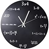 Creative Mathematics Blackboard Wall Clock Black Powder Coated Metal Unique Wall Clock - Each Hour Marked By a Simple Math Equation