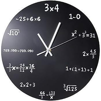 Robolife Creative Mathematics Blackboard Wall Clock Powder Coated Metal Black