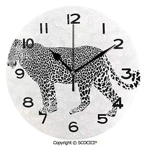 SCOCICI Round Wall Clock Jaguar Leopard Predator Spots Camouflage Design Fashionable Illustration Black and White 10 inch Morden Wall Clocks Silent Round Decorative -
