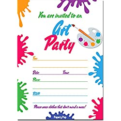 Art Party Invitations With Envelopes (15 Count) - Kids Birthday Party Anniversary Celebration Cards
