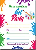 30 Art Party Invitations With Envelopes (30 Pack) - Kids Birthday Invitations for Boys or Girls