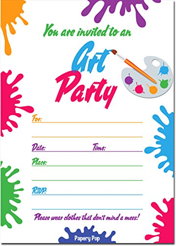 (Papery Pop Art Party Invitations with Envelopes (15 Count) - Kids Birthday Party Anniversary Celebration)