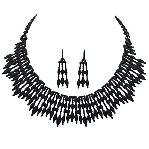 Unique Boutique Style Bib Statement Necklace & Dangle Earring Set (Black Stick Flair) ()