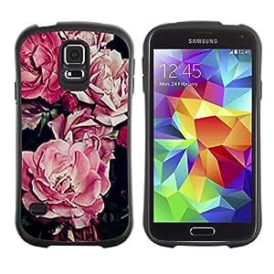 Suave TPU GEL Carcasa Funda Silicona Blando Estuche Caso de protección (para) Samsung Galaxy S5 / CECELL Phone case / / begonia pink flower floral pattern black /