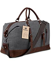Weekender Overnight Bag Canvas Genuine Leather Travel Duffel Tote