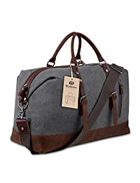 Travel Duffel Bag Tote Canvas Leather (Grey)
