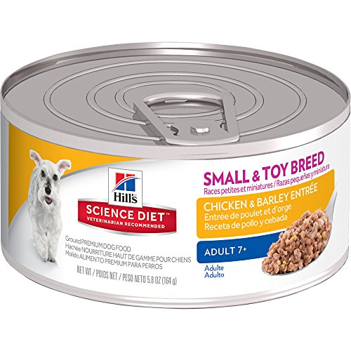 Hill's Science Diet Adult 7+ Small & Toy Breed Chicken & Barley Entrée Canned Dog Food, 5.8 oz, 24-pack