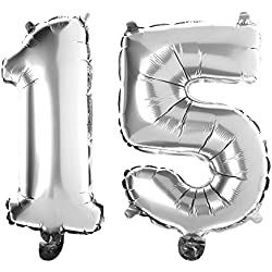 Ella Celebration Non-Floating 15 Number Balloons 15th Birthday Party Quinceanera Decorations Small 13 Inch (Silver)