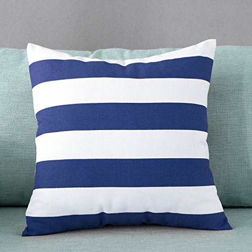 TAOSON Home Decorative Cotton Canvas Square Throw Pillow Cover Cushion Case Stripe Toss Pillowcase with Hidden Zipper Closure Multiple Colors (18x18(45x45cm), Navy Blue)