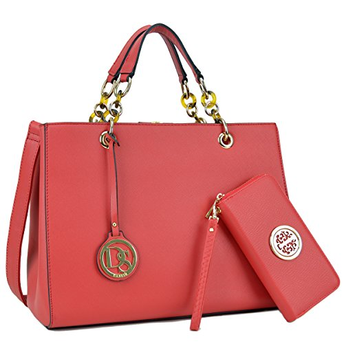 Womens Large Top Handle Handbag Structured Tote Bag Designer Shoulder Bag w/Matching Wallet ()