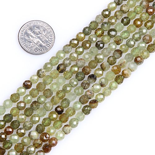 Gem-Inside Green Prehnite Gemstone Loose Tiny Seed Beads 4mm Round Faceted Energy Stone Healing Power for Jewelry Making 15''