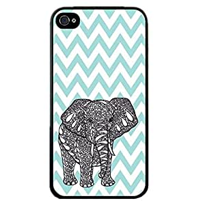 KINGCO For Apple iPhone 5s Stylish Personalized Painted Pattern Design Case Cover Back Skin Protector(Chevron elephant)