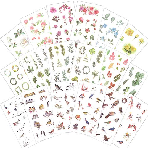 1000Art Planner Stickers Pack(18 Sheets / 200+) Flowers Birds Green Plant Leaves Sticker Set for DIY Arts and Crafts,Life Daily Planner,Bullet Journals,Scrapbooks,Calendars, Album