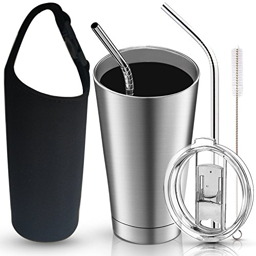 20oz Stainless Steel Tumbler 2-layer Insulated Vacuum Travel Mug Cup with Crystal Sliding Lid, 2 Bending Straws, Cleaning Brush & Carry Case 6in1 Kits - Works Great for Ice Drink, Hot Beverage