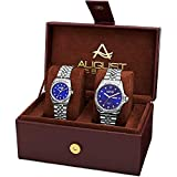 August Steiner AS8201 Matching His and Hers Glamorous Watch Gift Set- Stainless Steel Bracelet - Perfect Gift (Silver & Blue)