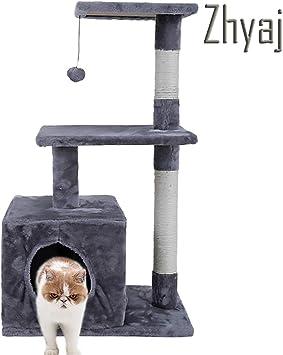 Zhyaj Rascador para Gatos Alta Estabilidad Escalador con Escalera Gato Escalada Mueble Pet Scratching Post con Hamaca De Gato Pelota De Juguete Gatos Accesorios,B ...