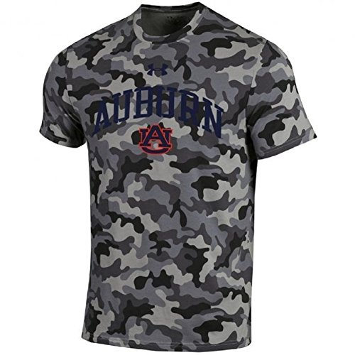 Under Armour NCAA Adult Short Sleeve Charged Cotton Grey Camouflage Performance Tee-Auburn Tigers-XL