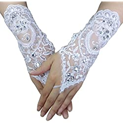 Gauss Kevin Hand Drill Lace Gloves UV Protection Fingerless Gloves Prom Party Driving Wedding