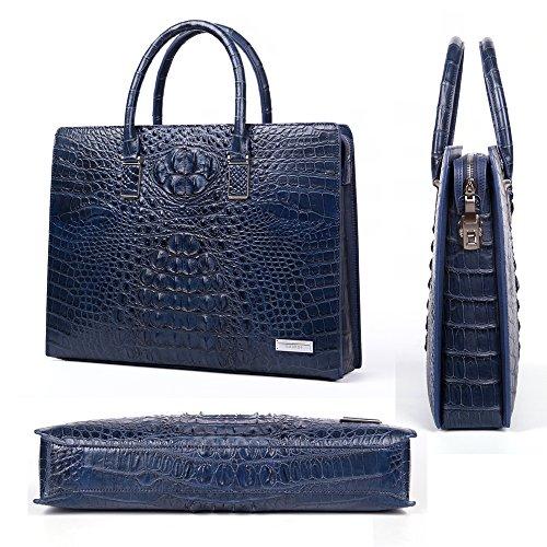 bag Business In Pelle Coccodrillo Moda Gavadi Blu Di Valigetta Della PZdnWqT
