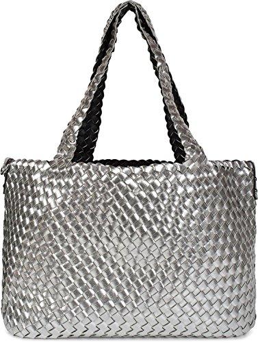styleBREAKER bolso reversible XXL en óptica trenzada, bolso para compras, 2 bolsos, set de bolsos de mano, bolso dentro de otro bolso, bolso de hombro, señora 02012163, Color Plateado/negro Plateado/Negro