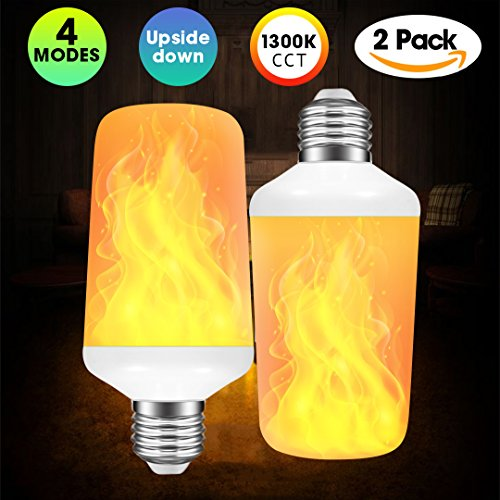 [2 Pack] LED Flame Effect Light Bulb with 4 Lighting Modes and Upside-down Feature, E26 Standard Base Bulb for Illumination and Decoration (Effects Integrated)