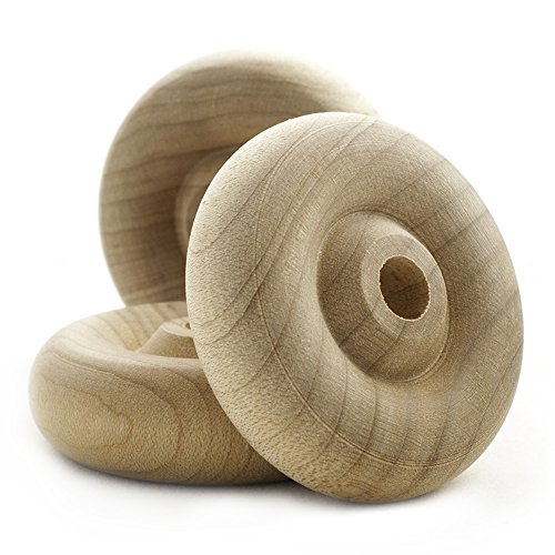 (Wooden Toy Wheels 1-1/2 inch diameter 1/2 inch width with a 1/4 inch hole, Bag of 24)