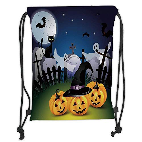 Custom Printed Drawstring Sack Backpacks Bags,Halloween,Funny Cartoon Design with Pumpkins Witches Hat Ghosts Graveyard Full Moon Cat Decorative,5 Liter Capacity,Adjustable String Closure ()