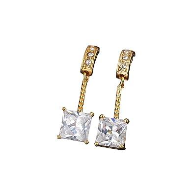 5ea70aa54196 LEORX Par de Moda Cubo Estilo Chicas Zircon Decorado Zarcillos (de Oro)