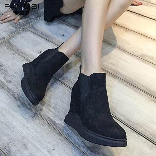 Femmes Chaussures Femme Automne Ronde Courtes Bottes Unie Tête Couleur Mode Shoeshaoge 6Hw5xUqxA
