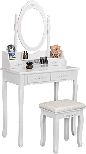 Bonnlo Princess Girls Vanity Table Set Makeup Dressing Table with Cushioned Stool 1 Rotatable Mirror 4 Drawers 4 Drawer Dividers