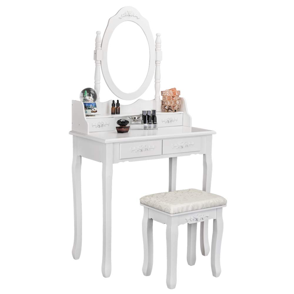 Bonnlo Princess Girls Vanity Table Set Makeup Dressing Table with 1 Rotatable Mirror 4 Drawers 4 Drawer Dividers