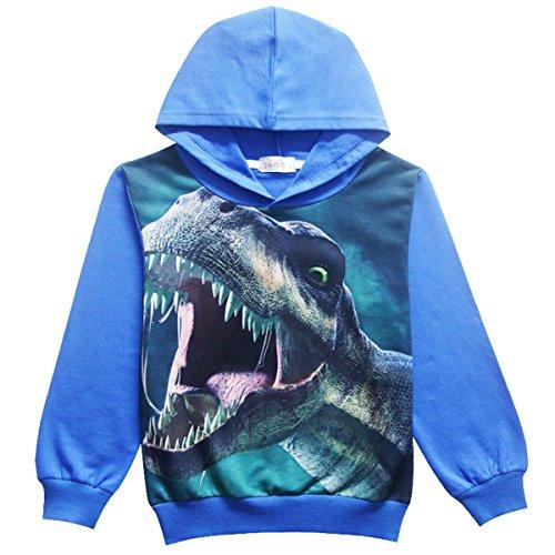 Cool Hooded Long Sleeve (GRAGON VINES Hoodies For Boys Dinosaur Cool Trendy Tshirt Hot Tops Long Sleeve Sweatshirt For Kids)