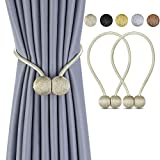 Deluxe Magnetic Curtain Tiebacks with Unique Wooden Balls, 2 Pack Decorative Drapery Holdbacks Rope Holder for Home Kitchen Office Window Sheer Blackout Drapes, Beige