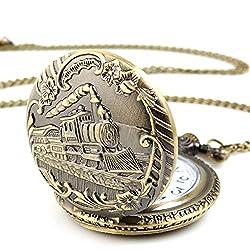 Train Copper Dangle Pendant Quartz Pocket Watch