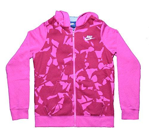 Nike Youth Girls Sportswear Printed Full-Zip Hoodie Pink (Large, Pink)