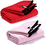 Rngeo 2 Pack Tri-fold Golf Towel Set, Microfiber Fabric Waffle Pattern Towels, Heavy Duty Carabiner Clip (2 Pc