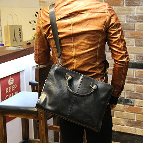 ZHUDJ Metrosexual Fashion Leisure Bag Bag Bag Briefcase Business Men Retro British Style Handbag Crossbody Bag,Black Coffee