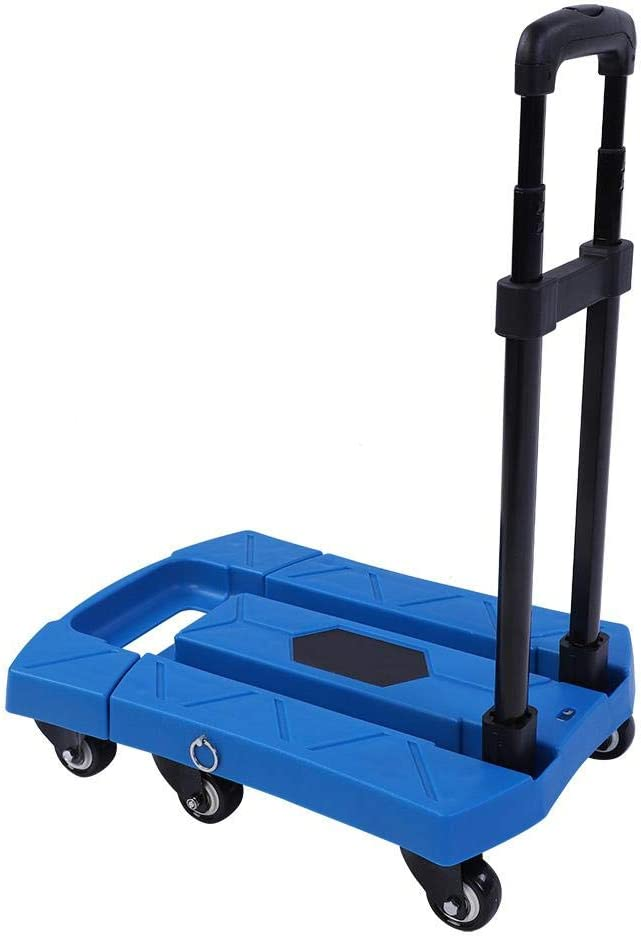 Store GOTOTO Platform Heavy Duty Trolley 400 kg Folding Trolley with Telescopic Frame and Lever Metal Warehouse Courtyard Roof Trolley Portable with 6 Wheels for Home